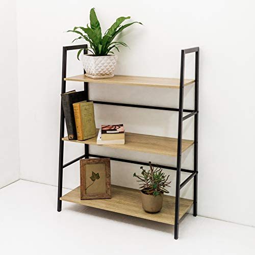C-Hopetree Ladder Bookcase Bookshelf Storage Shelf Vintage Industrial Plant Display Stand Rack Shelving, Home Office Accent Furniture, Black Metal Frame, 3 Tier - Tier Etagere 3
