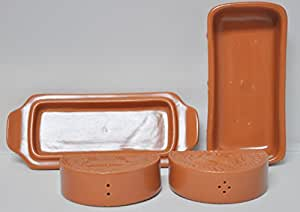 Terra Cotta Salt and Pepper Shakers / Terra Cotta Butter Tray Set- Avon Gift Collection