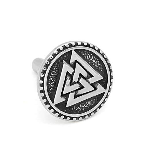 GuoShuang 1 Pair Nordic Viking Valknut Amulet Stainless Steel Cufflinks for Man and Women -with Valknut Rune Gift Bag