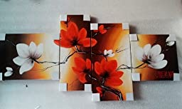 100% Hand-painted Best-selling Quality Goods Wood Framed on the Back Full Bloom in Spring Red Flowers High Q. Wall Decor Landscape Oil Painting on Canvas 4pcs/set Mixorde