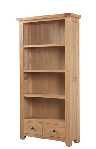 Devon Solid Oak Large Bookcase with 2 Drawers / Natural Oak Lacquer Large Bookcase / Living Room Furniture / Hallway Furniture / Dining Room Furniture /...