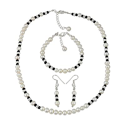 Black Spinel White Cultured Freshwater Pearl Necklace Earrings Bracelet Jewelry Set hot sale