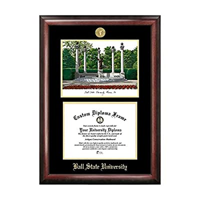 Campus Images Sports Team Logo Design Ball State University Gold Embossed Diploma Frame with Campus Images Lithograph