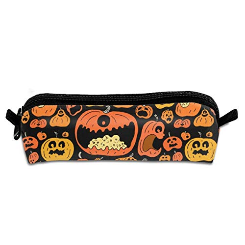Funny Halloween Calabazas Students Pencil Organizer with Compact Zippers Large Capacity Pouch Stationary Case for Crochet Hooks]()
