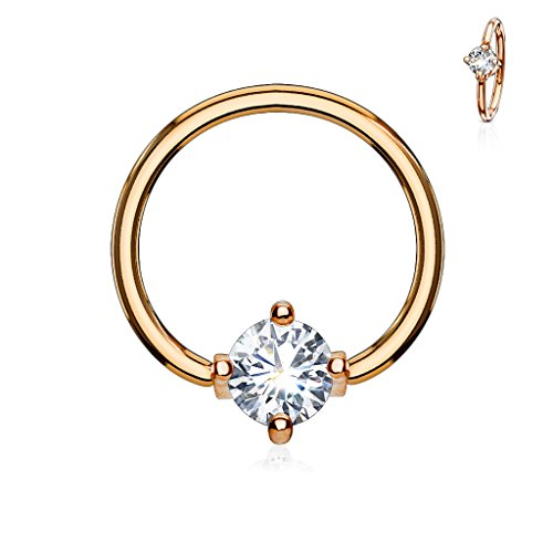 MoBody 16G-14G Round CZ Prong Set Captive Bead Piercing Ring Surgical Steel Ball Closure Septum Helix Cartilage Lip Piercing Jewelry (Rose Gold-Tone/Clear CZ, 16G (1.2mm) 3/8