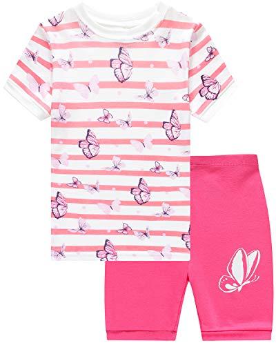 - Girls Short Pajamas Butterfly Sleepwear 100% Cotton Summer Toddler Pjs Clothes Shirts 2T
