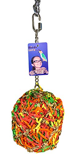 "Birds LOVE Medium Shredder Ball Toy for Parrot Cage Foraging Hanging Net 10"" x 6"" x 6"""