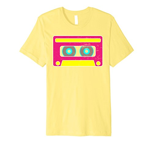 Mens Neon Cassette Tape 1980s Pop Mix Tape Halloween Hugs T Shirt Large Lemon