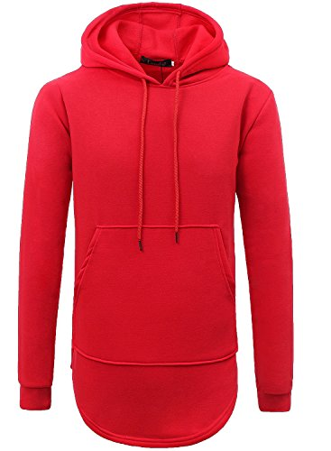 Jeans Hoodies - Lende Mens Hipster Hip Hop Classic Pullover Long Hoodie Sweatshirts Jacket,Red,X-Large