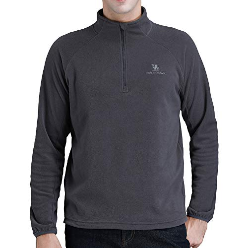 Camel Fleece Jacket Men Long Sleeve Fleece Pullover Sweater Half Zip Outdoor Sports -