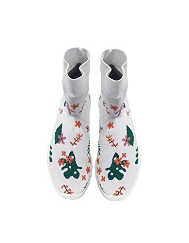 SANDERS Bianco On JOSHUA Sneakers Poliammide Slip 10492WHITEFLOWER35 Donna OTAwPd
