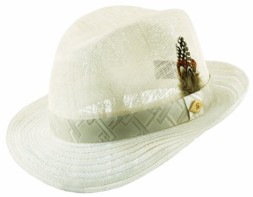 Stacy Adams Men's Pinch Front Hat,White,XL Pinch Front Straw