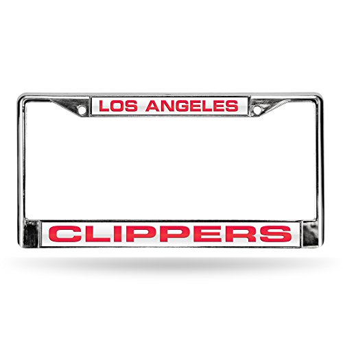 (NBA Los Angeles Clippers Laser Cut Inlaid Standard Chrome License Plate Frame, Chrome)