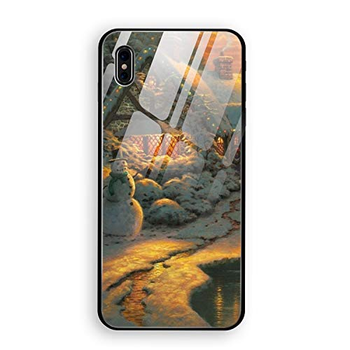 Juliet Frame Accessory - Christmas Tree Winter iPhone X Case Luxury Tempered Glass Back Cover with Soft TPU Bumper Frame Shock Absorption 360 Degree Full Protection