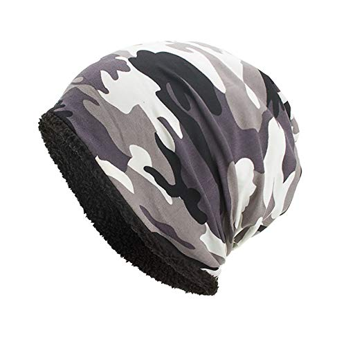 iYBUIA Women Men Warm Baggy Camouflage Crochet Winter Wool Ski Beanie Skull Caps Hat(White,One Size)
