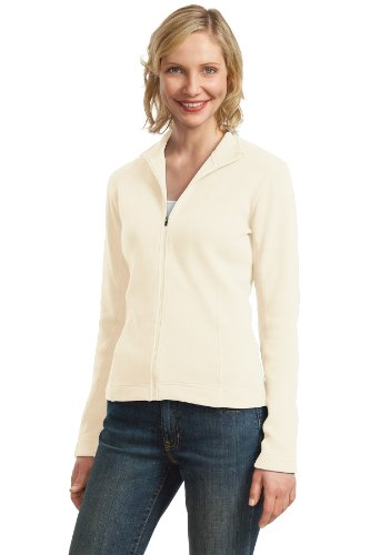 Port Authority Womens Flatback Rib Full Zip Jacket M Ivory