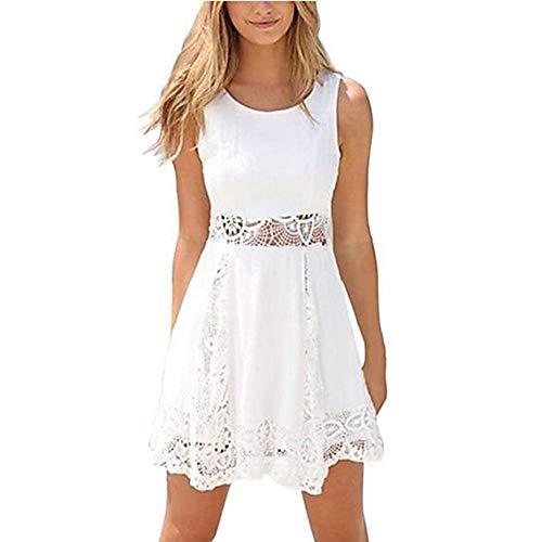 JIZHI Mujer La White Sobre Rodilla Vestido XXXL Delgado Primavera Vaina rrw8x4qdX