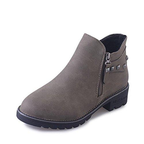 ZHZNVX HSXZ Zapatos de Mujer PU Primavera Otoño Botas de Confort para el Exterior Gris Negro,Gris,US8/UE39/UK6/CN39