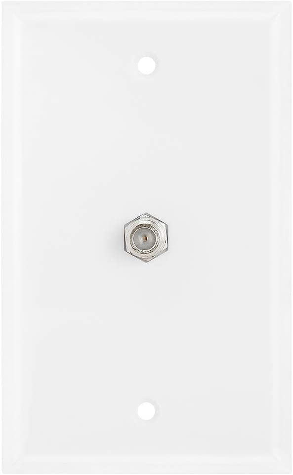 Cmple - Single F Connector Coaxial Cable Audio/Video Wall Plate, 1-Port TV Cable Wallplate 75 Ohm Plug Jack Ports Coax Wall Plate - White