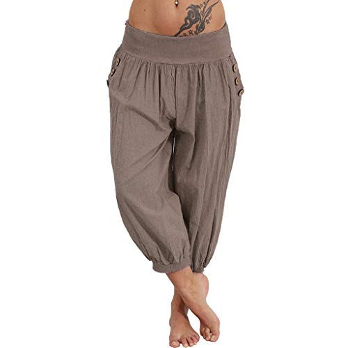 TOTOD Capris for Women Fashion Elastic Waist Boho Check Pants Baggy Wide Leg Summer Bloomers Cropped Trousers Brown