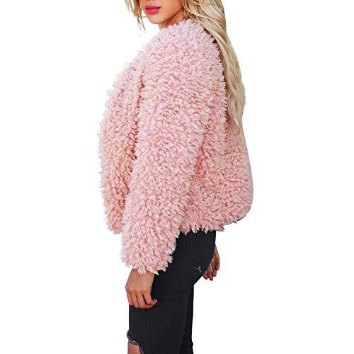Rosa Parkas de de Fleece Abrigo Abrigo Cardigan Prendas Suelto con STRIR Mujer Chaqueta Capucha Espesar Calentar RZxx7fHw