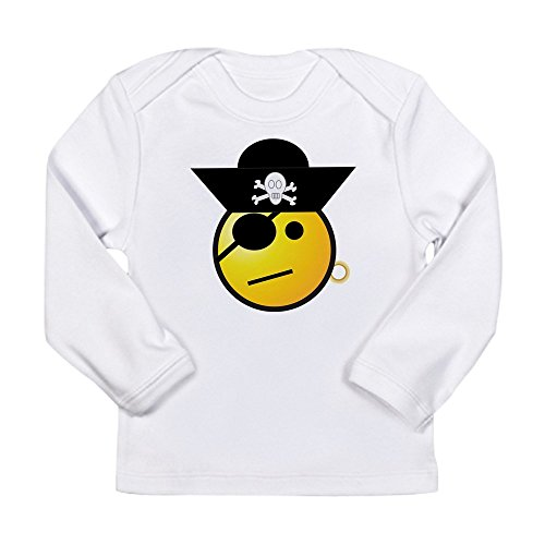 - Truly Teague Long Sleeve Infant T-Shirt Smiley Face Pirate - Cloud White, 6 To 12 Months