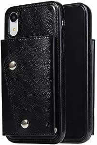 حافظة جهاز ايفون اكس ار، وتتضمن محفظة مع فتحة للبطاقات، وحقيبة يد وحزام معصم مصنوع من الجلد الفاخر، وحافظة مقاومة للصدمات لهاتف ايفون اكس ار، بلون اسود