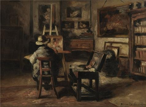 The High Quality Polyster Canvas Of Oil Painting 'Henri De Braekeleer - The Studio Of Ferdinand De Braekeleer,1877' ,size: 24x33 Inch / 61x83 Cm ,this Cheap But High Quality Art Decorative Art Decorative Canvas Prints Is Fit For Kitchen Artwork And Home Gallery Art And Gifts (Cheetah Fabric Drawer)