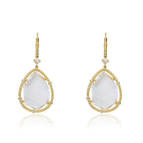 Riccova Sliced Glass 14k Gold-Plated CZ Trimmed Clear Sliced Glass Teardrop Dangle Earring by Riccova