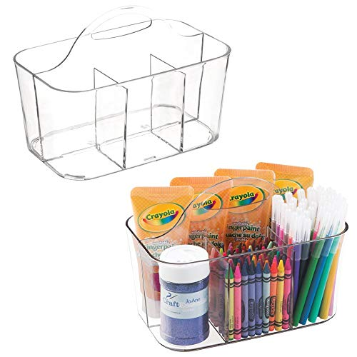 - mDesign Plastic Portable Craft Storage Organizer Caddy Tote, Divided Basket Bin for Craft, Sewing, Art Supplies - Holds Paint Brushes, Colored Pencils, Stickers, Glue, Yarn - Small, 2 Pack - Clear