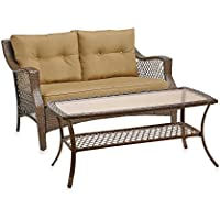 Stratford Wicker 2-Piece Loveseat and Table Set (Tan)
