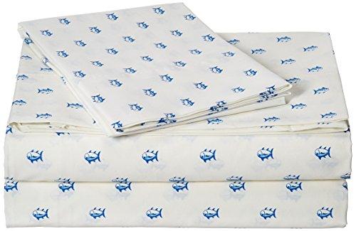 Southern Tide Printed Cotton Sheet, Twin X-Large, Skipjack White