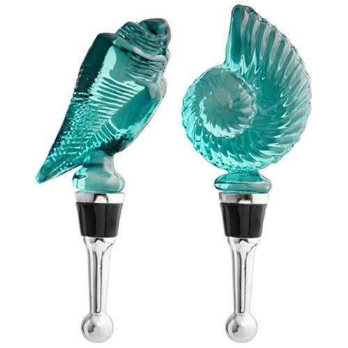 Blue Glass Shells Wine Bottle Stopper Set ()