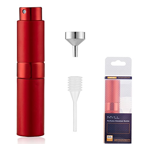 UNIhome Travel Perfume Atomizer Spray Bottle (8ml) Set - Twisting Concealed Mouth Design | Refillable Empty Bottle for Perfume and Aftershave Travel & Handbag (Perfume Atomizer, Red)