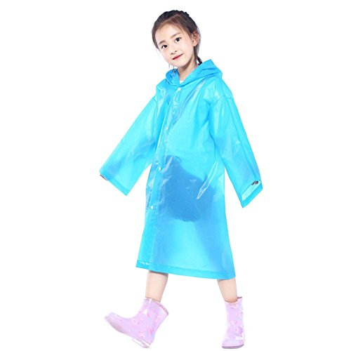 Walsilk 2Pack Emergency Rain Ponchos for Kids,Waterproof Child Raincoats with Hood and Sleeves,Portable & Lightweight (2Blue)