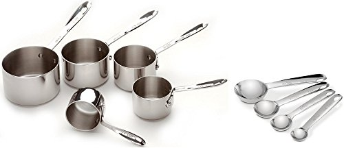All-Clad 59917 Stainless Steel Measuring Cups 5-Piece Plus 59918 Stainless Steel Measuring Spoons 4-Piece, Cookware Set Stainless Steel