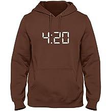 ShirtLoco Men's 420 Digital Clock Hoodie Sweatshirt, Chocolate Large
