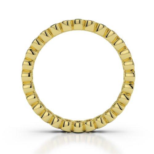 Or jaune 18carats 0.39CT G-H/VS sertie de diamants ronds découpé Émeraude et bague éternité Agdr-1099