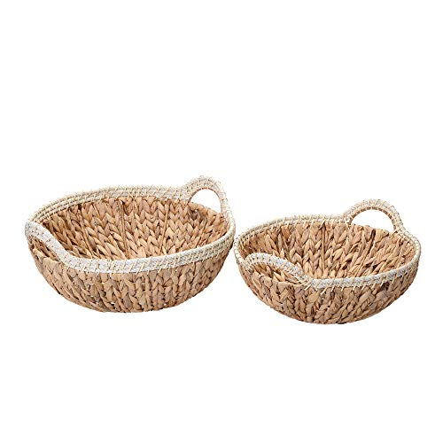 VILLACERA Elsie Handmade Wicker Water Hyacinth Round Nesting Baskets in Natural and White | 15