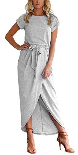 Women's Casual Short Sleeve Front Slit Crew Neck Chic Long Maxi Dress Belted (XXXL, ()