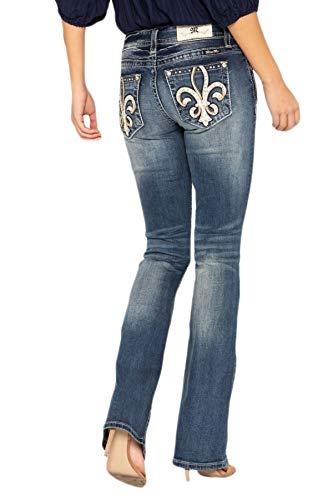 - Miss Me Women's Cowhide Fleur De Lis Bootcut Jeans in Dark Blue Dark Blue 32 34