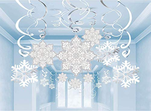 Christmas Snowflake Hanging Swirls Decorations - Winter Wonderland/Xmas/Holiday Birthday Party Supplies Decor(30 Packs)]()