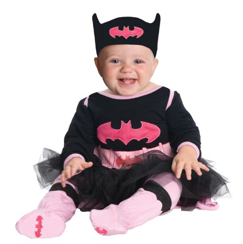 Parent And Baby Halloween Costumes (DC Comics Batgirl Onesie And Headpiece, Gray, 6-12 Months Costume)