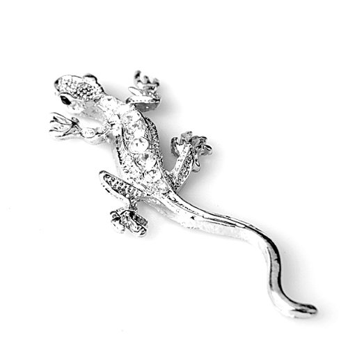 Silver Metal Rhinestone Lizard Style Design Shaped Style Sticker Decor With Self Adhesive Tape For Cars SUVs 1Pcs Tape 3D