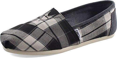 TOMS Seasonal Classics Black/White Plaid Womens Slip on Shoes 8 - Flat Womens Rogue