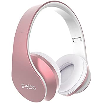 Bluetooth Wireless Over-ear Stereo Headphones, Fetta 4 in 1 Upgrade Bluetooth Foldable Headsets with Micro Support SD/TF Card (Upgrade Rose Gold)