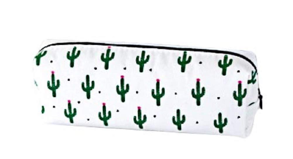 Blanc Eudola Trousse Scolaire Sac /à Stylo Crayons en Toile Mignon Cactus Sac de Papeterie Sac de Rangement Cosm/étique pour Enfants Adolescents /Étudiants