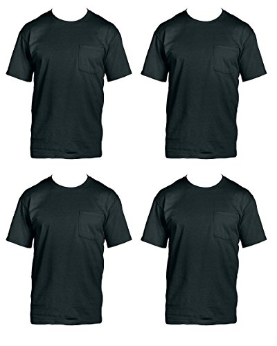 Fruit of the Loom Men's 4 Pack Pocket Crew Neck T Shirt Black (Fruit Of The Loom Chest Pocket T-shirt)