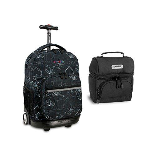 J World Sunrise Roller Backpack Back Pack and Corey Lunch Bag Bundle Set, Love Black w/Black by J World New York