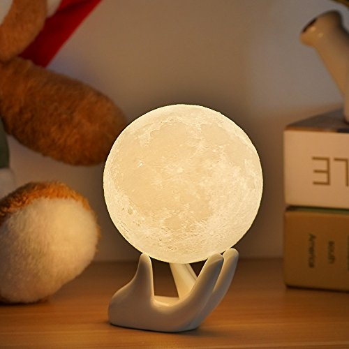 Full Moon Lamp Night Light 3.5IN With Ceramic Hand Stand 3D Printed with Safe PLA, Eye Caring LED, Dimmable and Rechargeable, Two Colors Touch Control, cool Gift For baby Kids (Hand Ceramic)